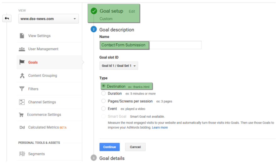 Setting Destination URL for Goals in Google Analytics