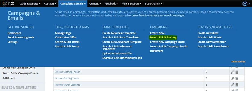 Find the Search and Edit function in the CRM module