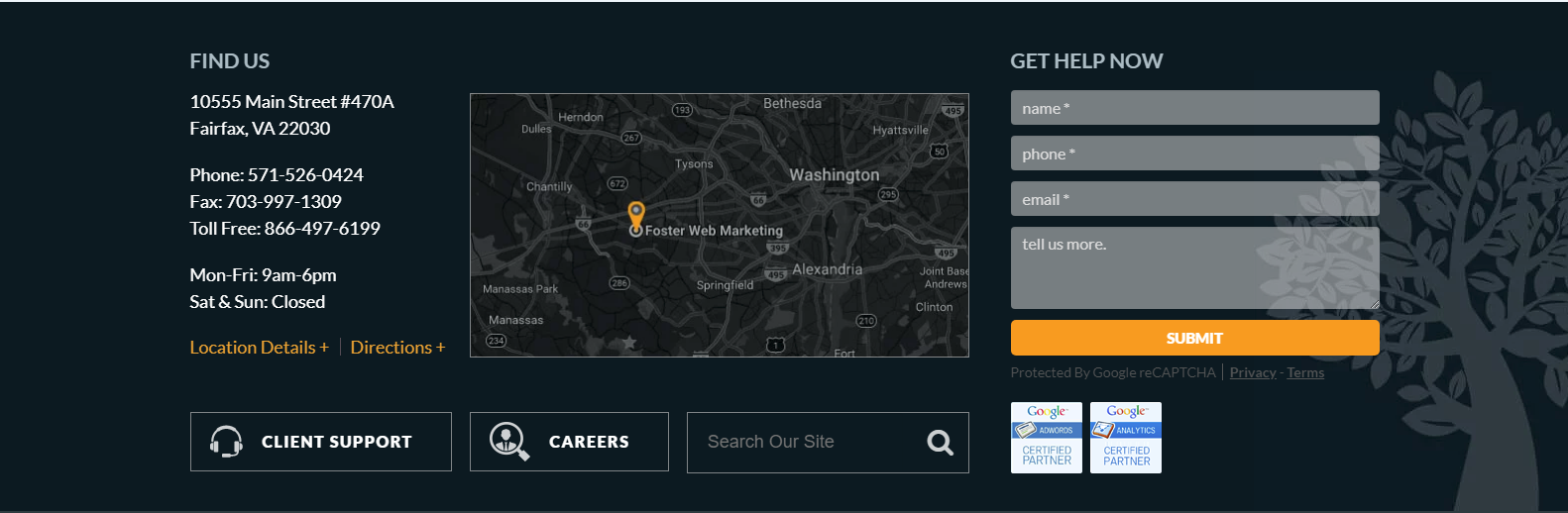 Business Website location panel example