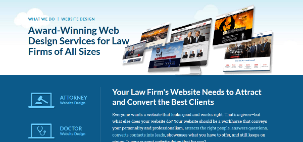 Law firm website design good use of whitespace