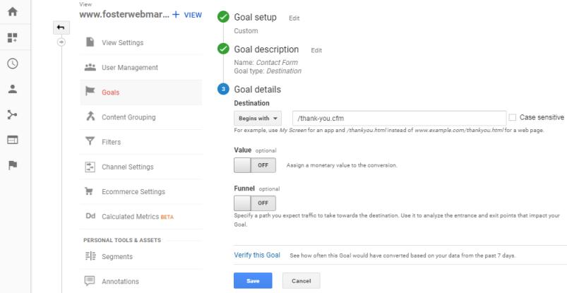 Destination URL for Conversions in Google Analytics