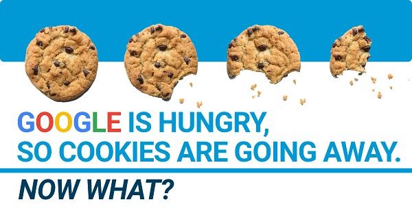 cookies in phases of being eaten to represent digital website cookies going away