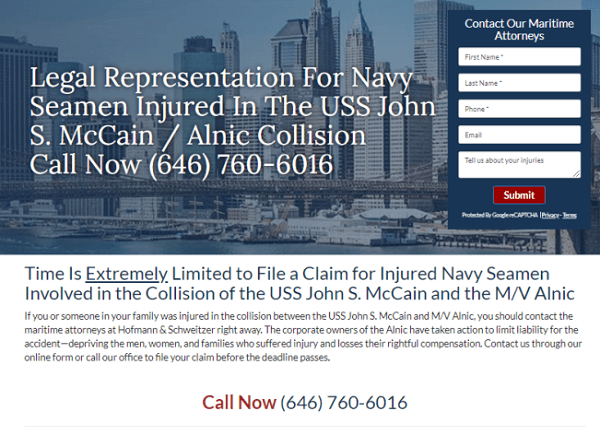 Maritime Attorney custom landing page created by Foster Web Marketing