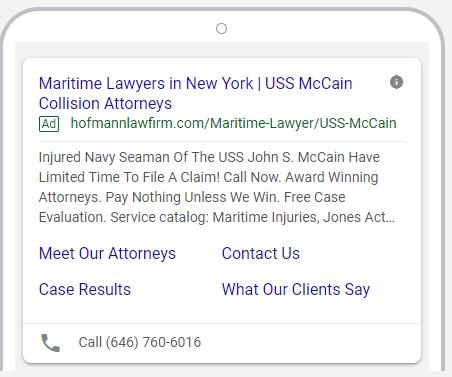 Maritime Attorney PPC Ad