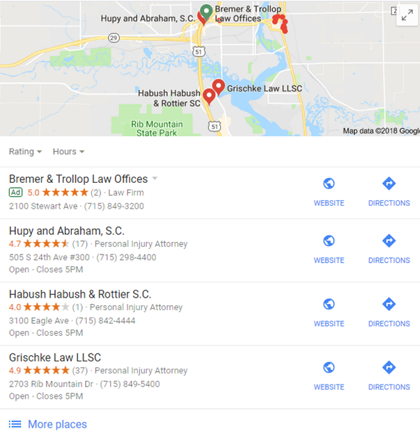 Traffic Driving Local Search Result Displays