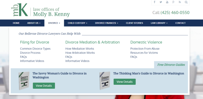 Home page for the Law Offices of Molly B. Kenny