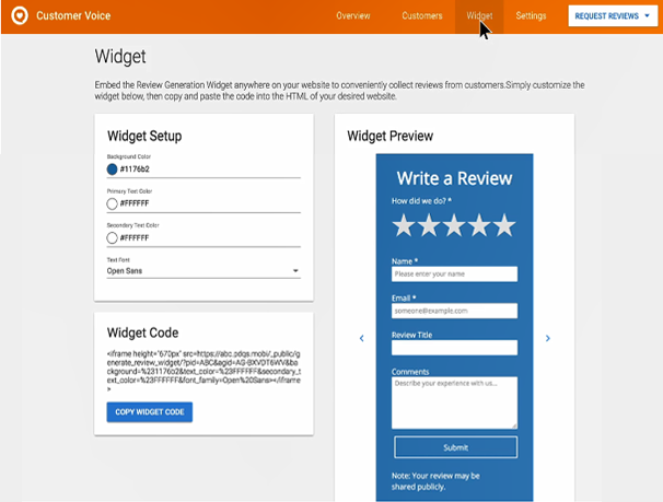 Customize the review widget in DSS.