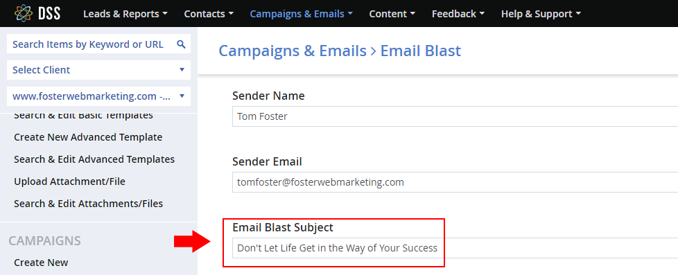 DSS asks for a subject line when you create an email blast.