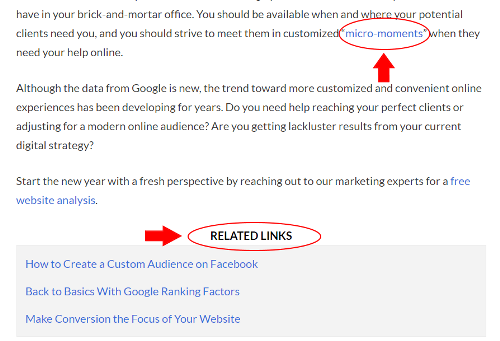 Links in the text or in a table can direct your audience to read deeply