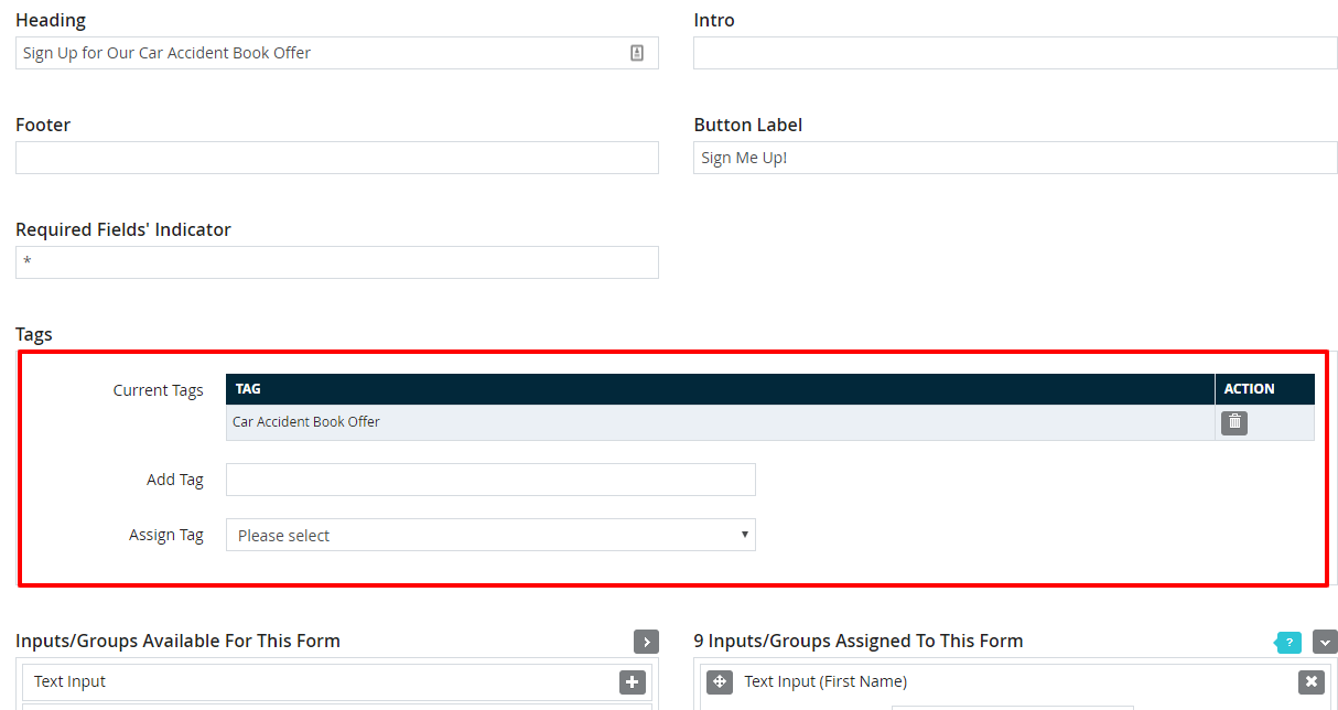 Adding tags to a form in DSS.