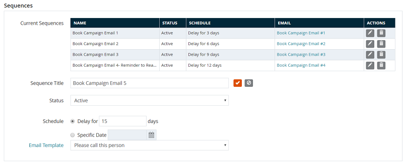 Setting up campaign email sequences in DSS.