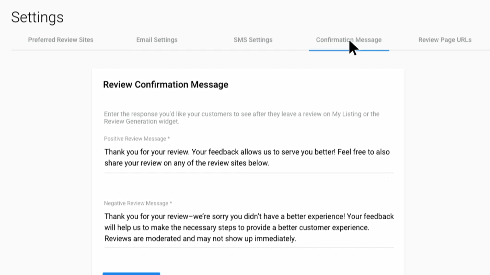 DSS Review Confirmation message