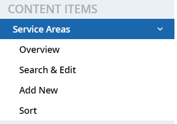 List of content items under the Service Areas section of DSS