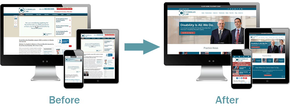 The Cuddigan Law Firm website before and after it was redesigned.