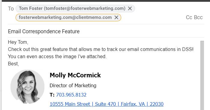 screenshot of new client memo feature