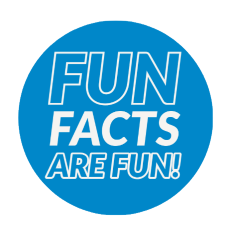 """A blue circle with """"fun facts are fun!"""" written inside."""