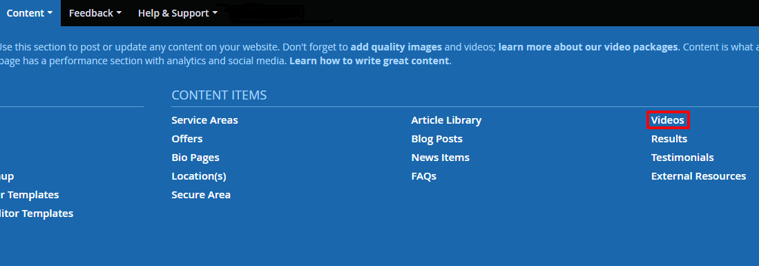 Accessing the video section of DSS
