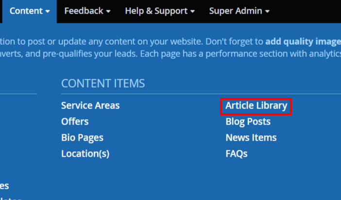 Accessing the article library in DSS.