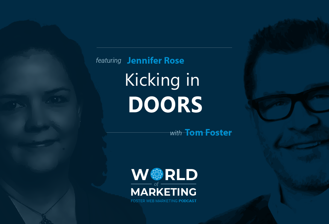 Podcast title card with Jennifer Rose on the left and Tom Foster on the right