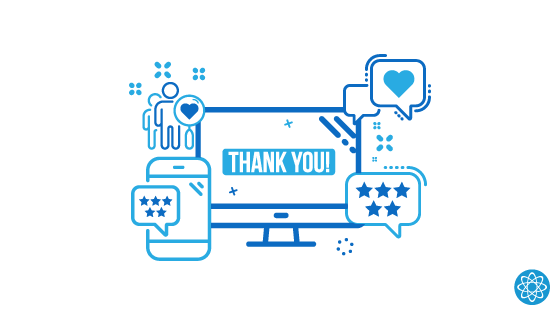A computer screen with blue icons representing various ways to improve a thank you page.