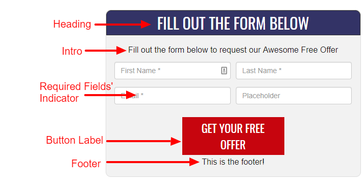 How offer form fields will appear on your live contact and download forms.