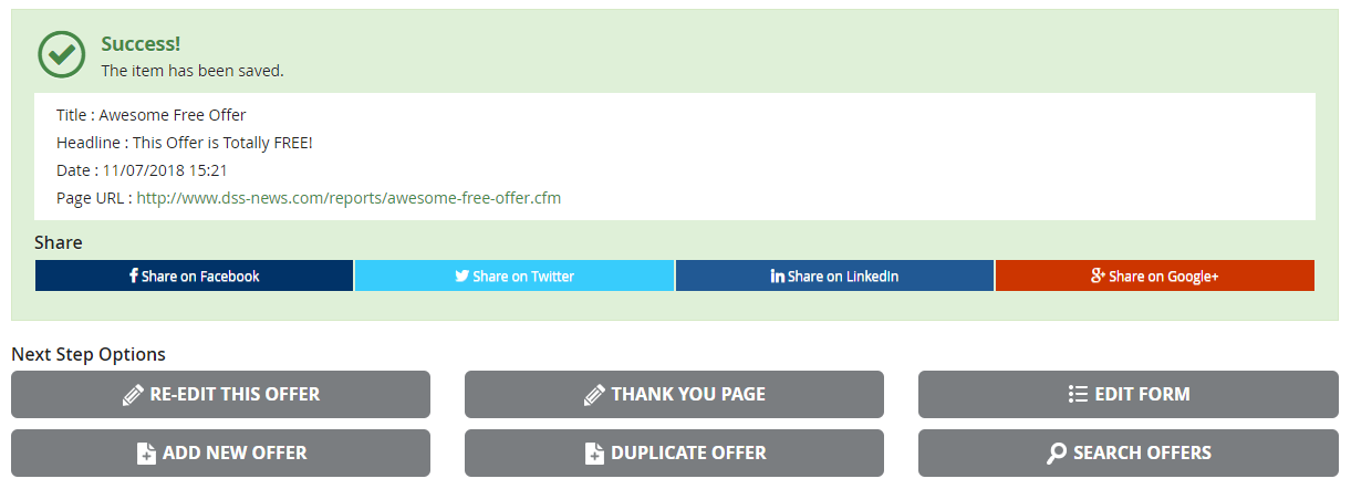 """An example of a """"success page"""" in DSS when an offer page has been saved."""