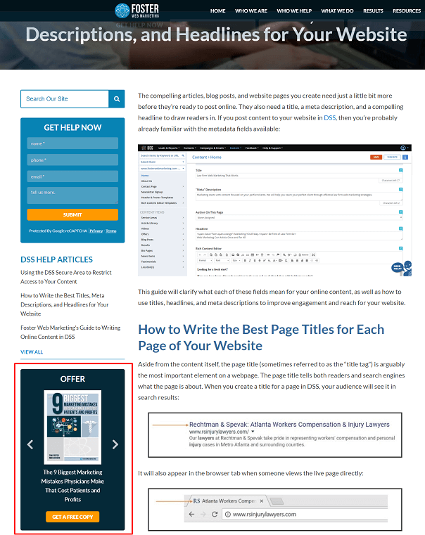 view of an offer assigned to a live page