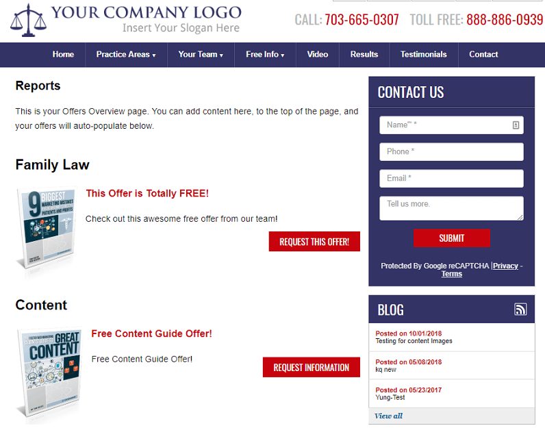 An example an an offer overview page