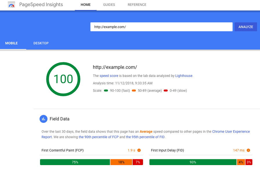 An example website's score when analyzed through Google's PageSpeed Insights.