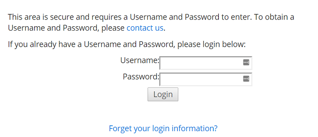 The log in screen for secure users