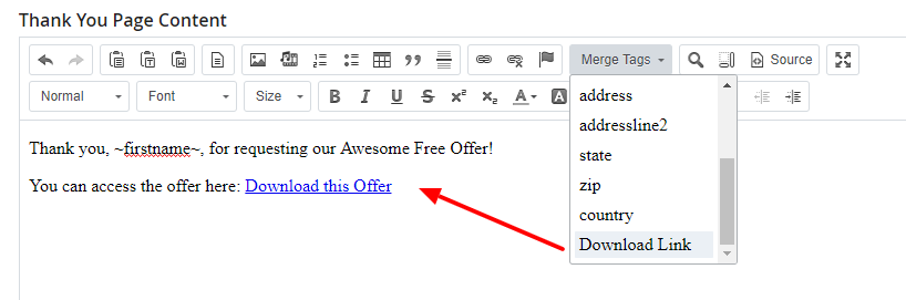 How to include a merge tag on a thank you page in DSS.