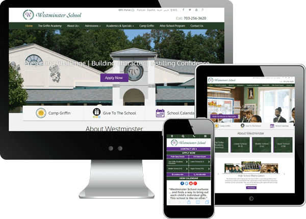 West Minister School website on Desktop, Tablet, and Smartphone