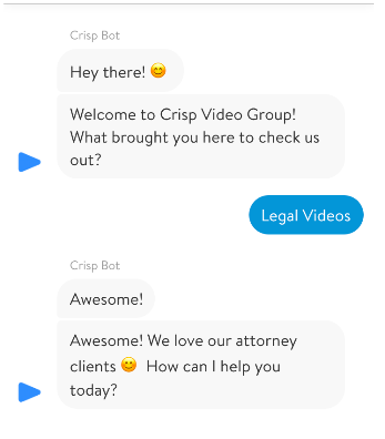 Live chat call-to-action example from Crisp Video