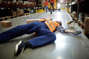 Part time warehouse working fell and severely injured