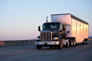 Semi-Truck Heading Down a Highway