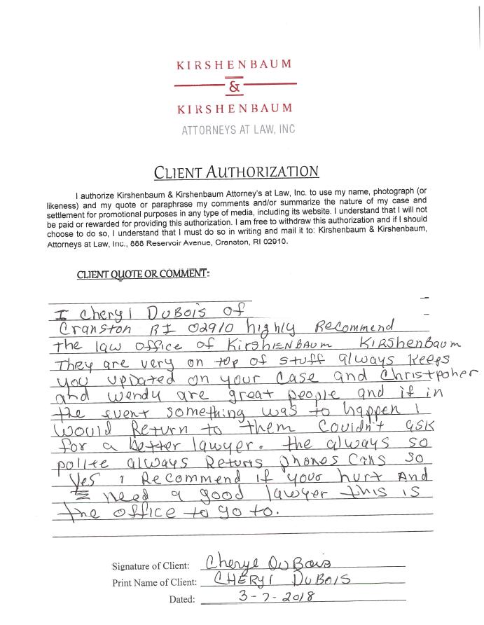 Cranston Personal Injury Lawyer Kirshenbaum and Kirshenbaum