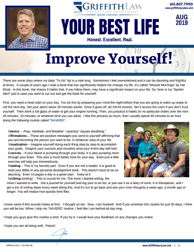 August 2019 Newsletter Cover - Your Best Life