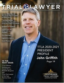 Personal Injury Lawyer John Griffith featured on TTLA magazine cover as new President