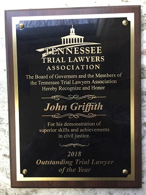 John Griffith's 2018 Outstanding Trial Lawyer of the Year award