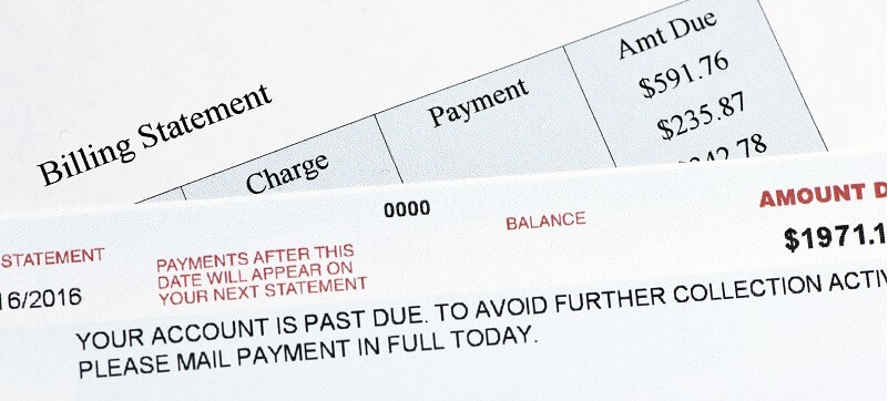 Overdue doctor and medical bills from car crash injuries