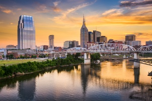 Nashville Tennessee skyline river bridge