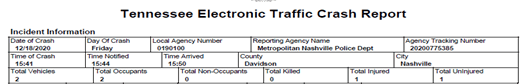 Tennessee Electronic Traffic Crash Report