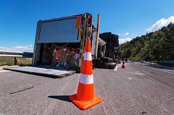 Tractor trailer wreck scene