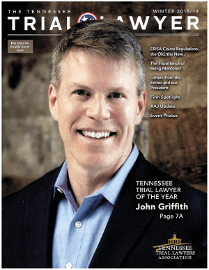 Personal injury lawyer John Griffith on the cover of Tennessee Trial Lawyer Magazine