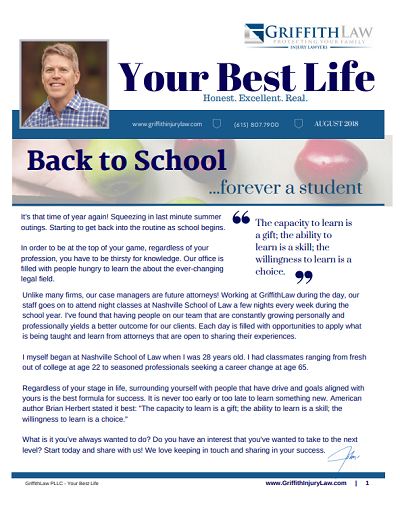 August 2018 Newsletter Cover - Your Best Life