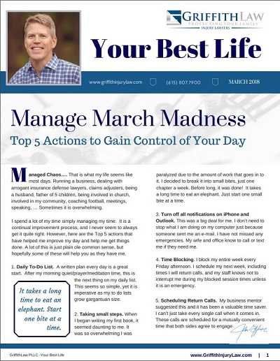 March 2018 Newsletter Cover - Your Best Life