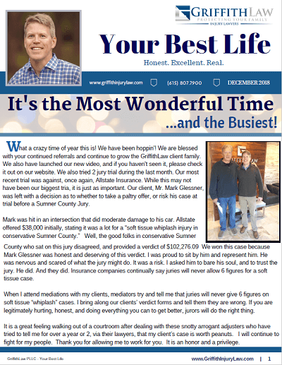 December 2018 Newsletter Cover - Your Best Life