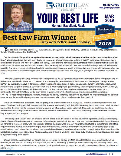 March 2019 Newsletter Cover - Your Best Life