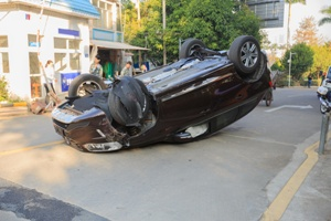 car resting on its roof after rollover accident