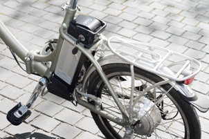 close-up of electric bicycle